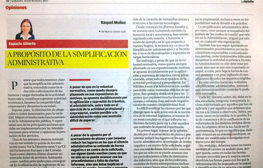 A PROPÓSITO DE LA SIMPLIFICACIÓN ADMINISTRATIVA. Raquel Muñoz. Artículo publicado en La Opinión