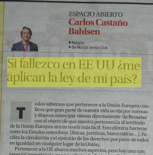 SI FALLEZCO EN EEUU ¿ME APLICAN LA LEY DE MI PAÍS? Carlos Castaño Bahlsen. Artículo publicado en La Opinión