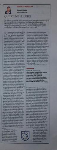QUE VIENE EL LOBO. RAQUEL MUÑOZ . Artículo publicado en La Opinión