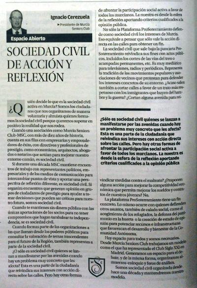 SOCIEDAD CIVIL DE ACCIÓN Y REFLEXIÓN. IGNACIO CEREZUELA . Artículo publicado en La Opinión