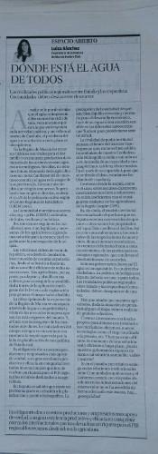 DÓNDE ESTÁ EL AGUA DE TODOS.LUISA SÁNCHEZ. Artículo publicado en La Opinión